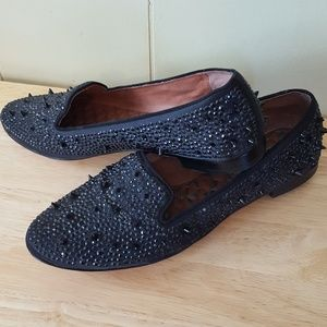Sam Edelman 8.5 black Spiked sequined loafers